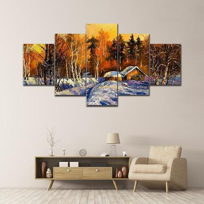 Evening In Winter Village Multi Canvas Print Wall Art