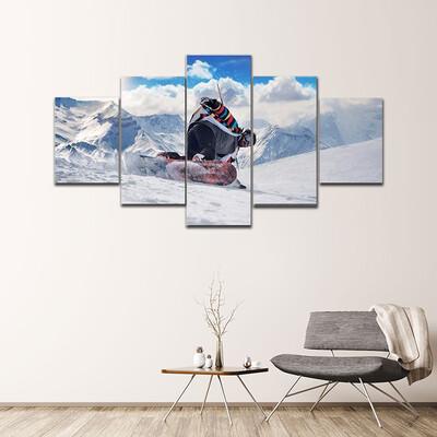 Extreme Snowboarding Man Multi Canvas Print Wall Art