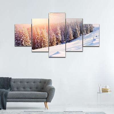 Fantastic Evening Winter Landscape Multi Canvas Print Wall Art