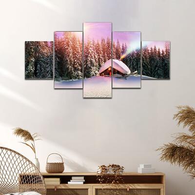 Fantastic Landscape In Winter Multi Canvas Print Wall Art