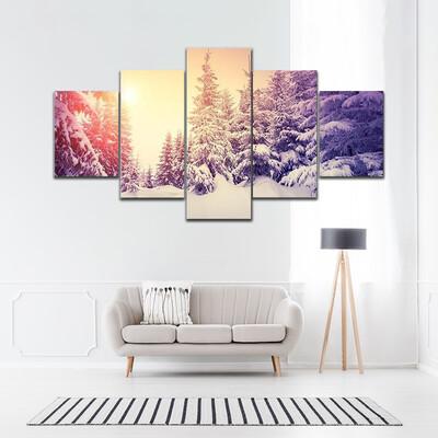 Fantastic Landscape Glowing By Sunlight Multi Canvas Print Wall Art