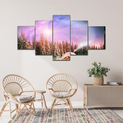 Flowers On Landscape In Winter Multi Canvas Print Wall Art