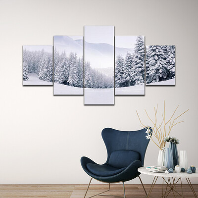 Foggy Winter In The Mountains Multi Canvas Print Wall Art
