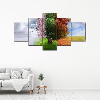 Four Season Tree Multi Canvas Print Wall Art