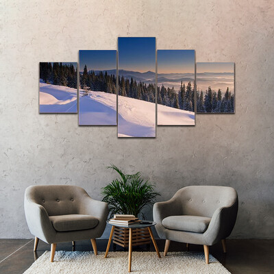 Frosty And Sunny Day In Mountains Multi Canvas Print Wall Art