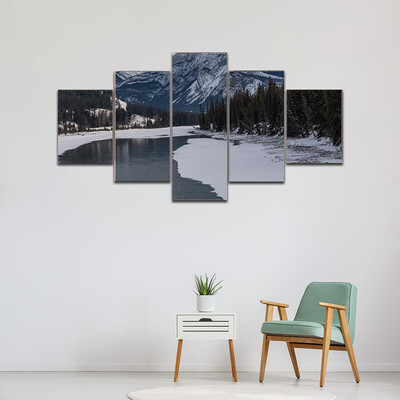 Frozen Lake With Mountain Range Multi Canvas Print Wall Art