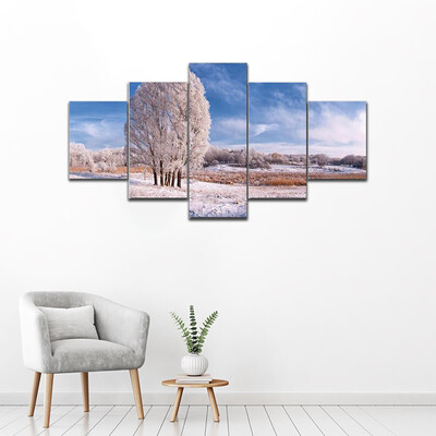 Frozen Tree And Blue Sky Multi Canvas Print Wall Art