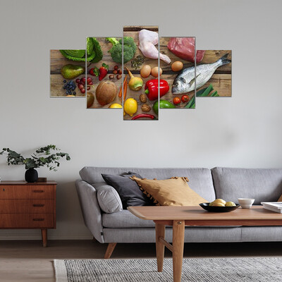 Meat And Vegetables Multi Canvas Wall Art