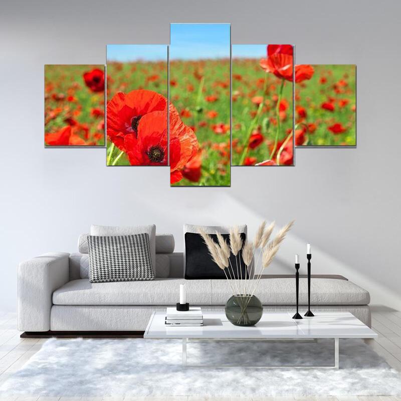 Summer Landscape Wild Poppy Field Multi Canvas Print Wall Art