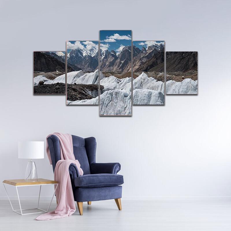 Glacier Landscape K2 Trek Pakistan Multi Canvas Print Wall Art