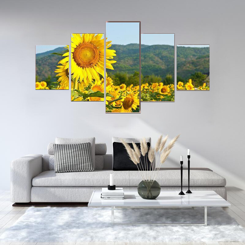 Sunflower Field And Green Mountains Multi Canvas Print Wall Art