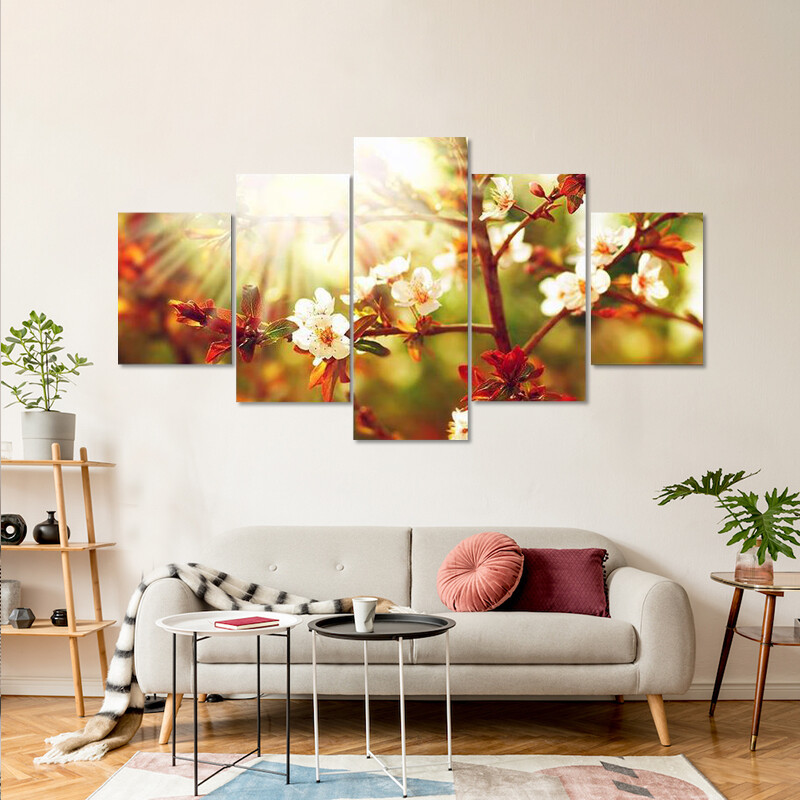 Almond Tree Blossom In Spring Multi Canvas Print Wall Art