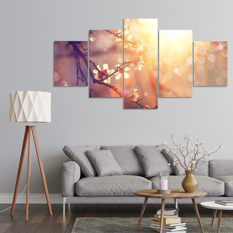 Blooming Tree With Sunlight Multi Canvas Print Wall Art