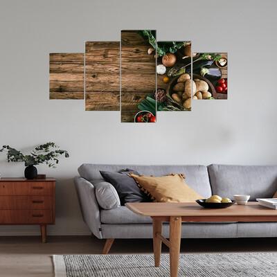 Vegetables On Wood Multi Canvas Wall Art