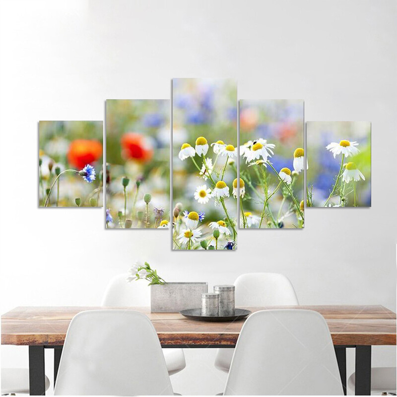 Blooming Wild Flowers Multi Canvas Print Wall Art