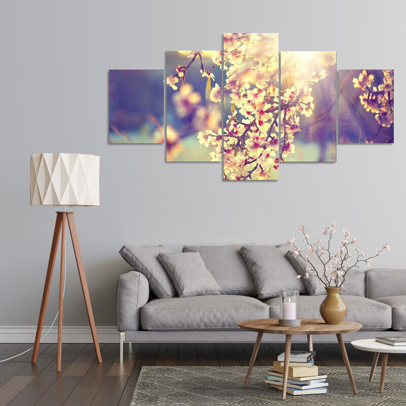 Blooming Tree And Sun Flare Multi Canvas Print Wall Art