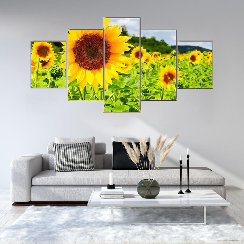 Sunflower Field In Sunny Weather Multi Canvas Print Wall Art