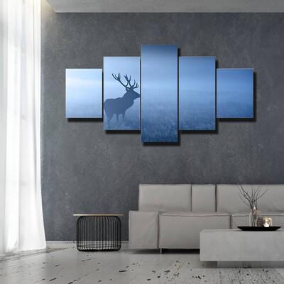 Deer In Fog Multi Canvas Wall Art