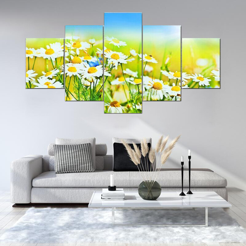 Sunny Daisy Field Multi Canvas Print Wall Art
