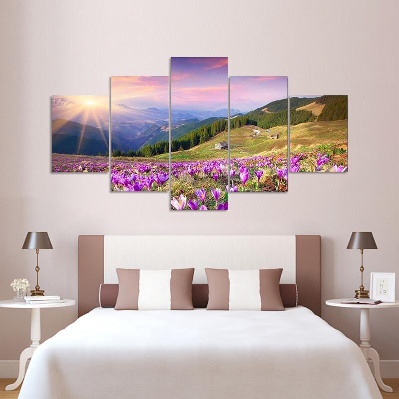 Blossom Of Crocuses Multi Canvas Print Wall Art