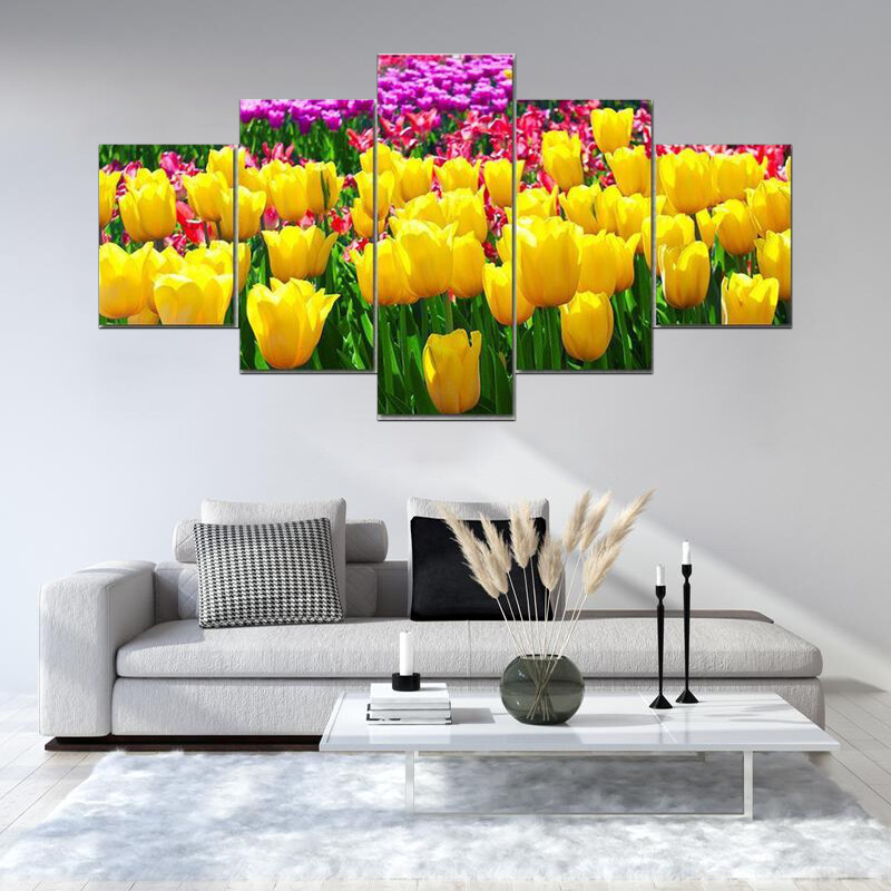 Tulips Field Yellow Flowers Multi Canvas Print Wall Art