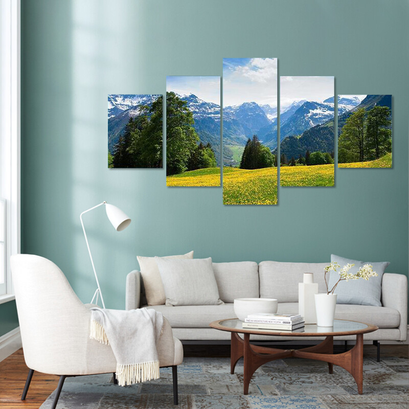 Braunwald In Spring Multi Canvas Print Wall Art