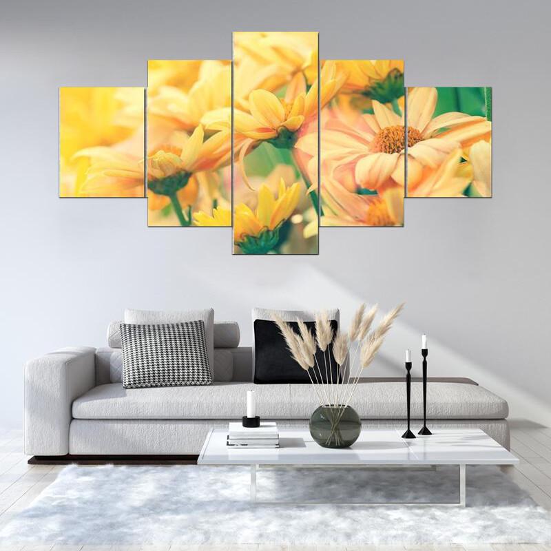 Vintage Flower Lawn Multi Canvas Print Wall Art
