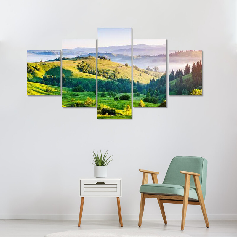 Bright Rolling Countryside Multi Canvas Print Wall Art