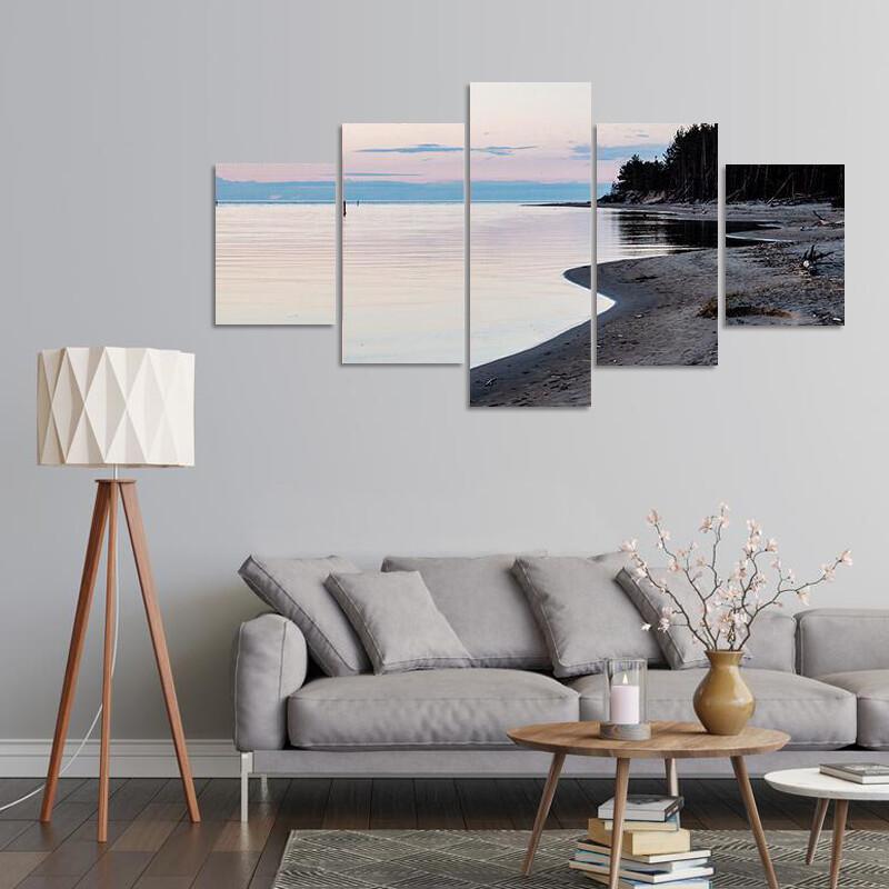 Calm River Spring In Latvia Multi Canvas Print Wall Art