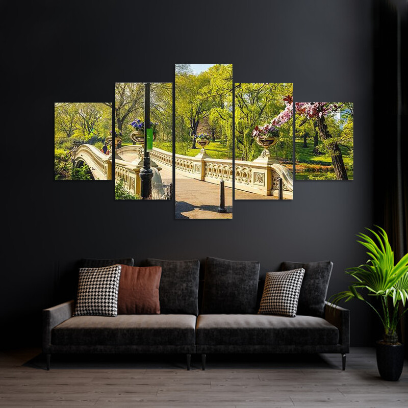 Bow Bridge In Central Park Multi Canvas Print Wall Art