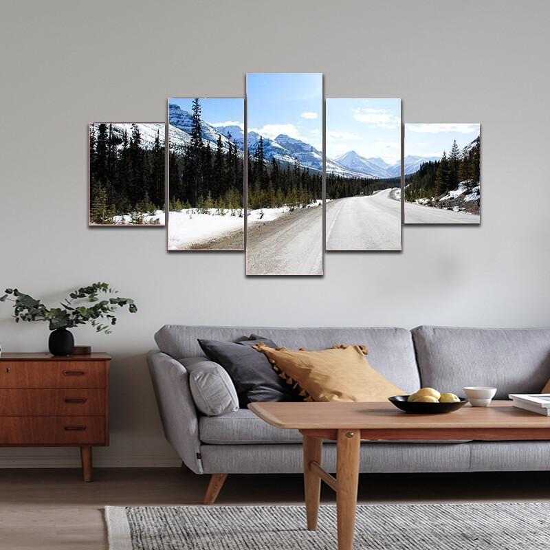Highway In Canadian Rockies Multi Canvas Print Wall Art