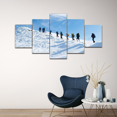Hiker In A Winter Mountain Multi Canvas Print Wall Art