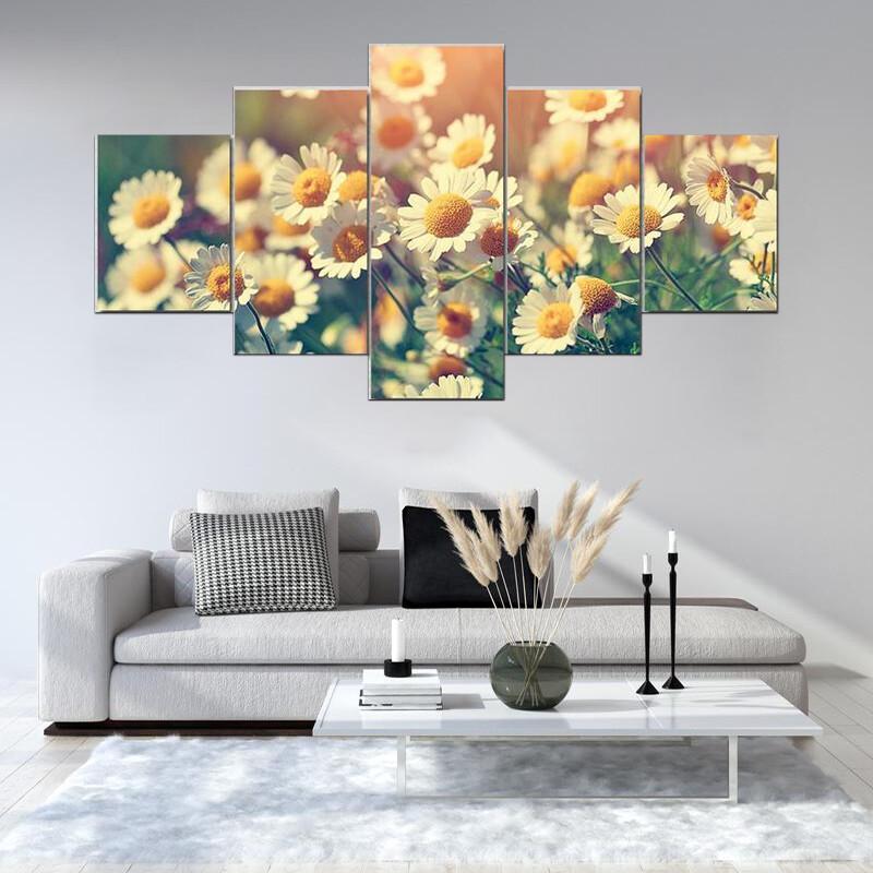 Vintage Wilde Chamomile Flowers Multi Canvas Print Wall Art