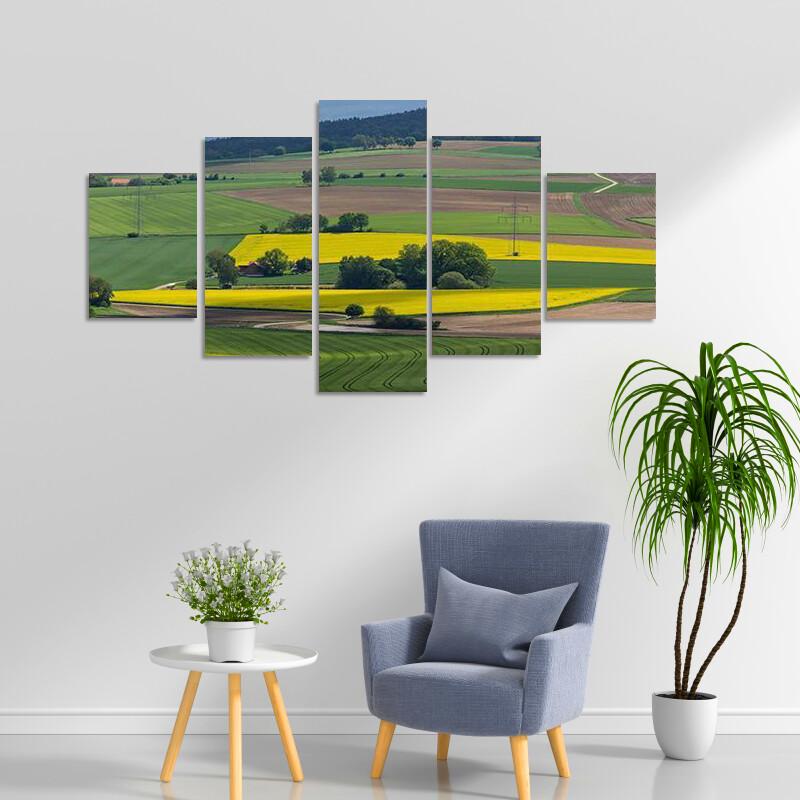 Canola Fields In Bavaria Multi Canvas Print Wall Art