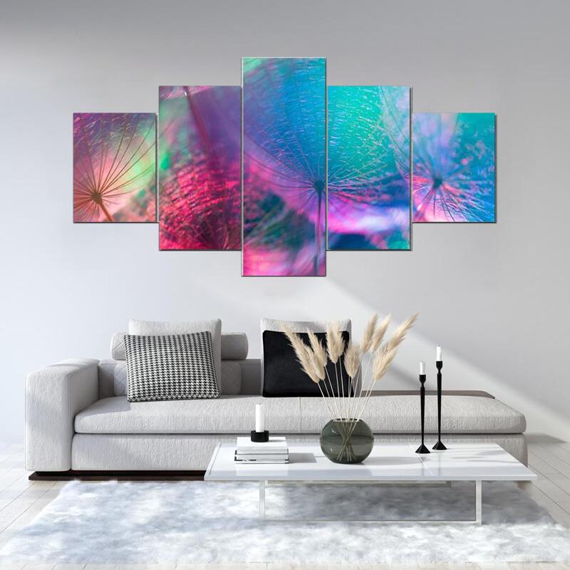 Vivid Color Abstract Dandelion Flower Multi Canvas Print Wall Art