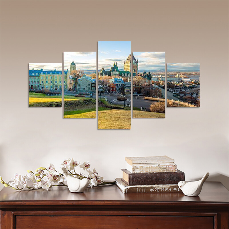 Cityscape Of Quebec City In Spring Multi Canvas Print Wall Art
