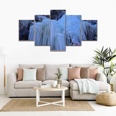 Ice Waterfall In Winter Multi Canvas Print Wall Art
