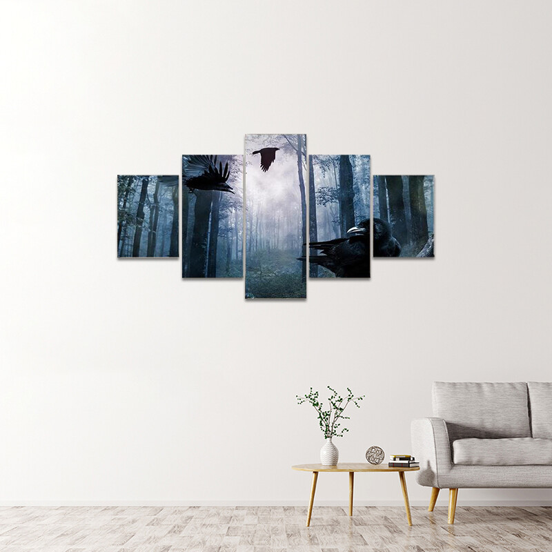 Black Crows Flying Multi Canvas Print Wall Art