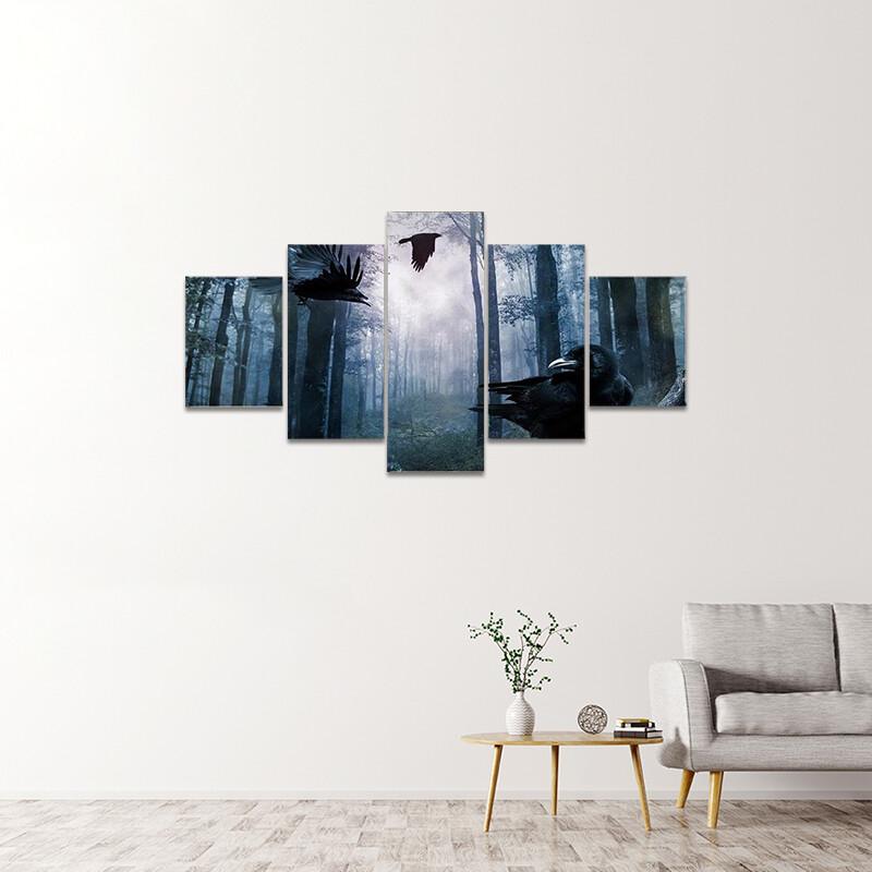 Black Crows Flying Multi Canvas Print Wall Art