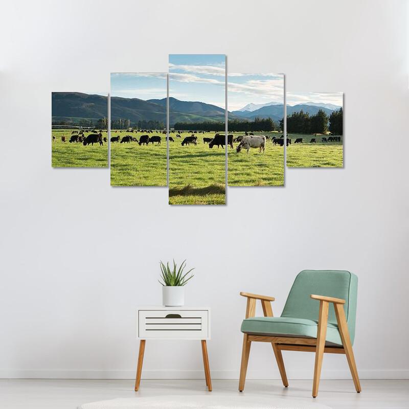 Cows In Green Meadow Multi Canvas Print Wall Art