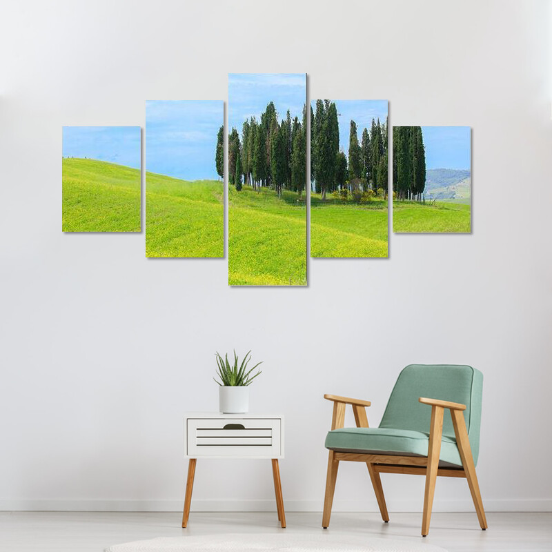 Cypress Trees In Tuscany Multi Canvas Print Wall Art