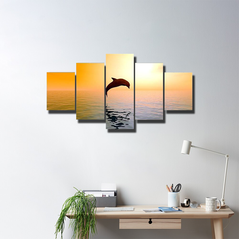 Jumping Dolphin In Sunset Multi Canvas Wall Art