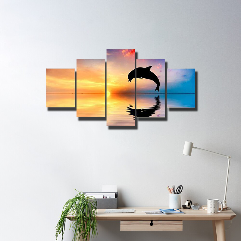 Silhouette Of Jumping Dolphin Multi Canvas Wall Art
