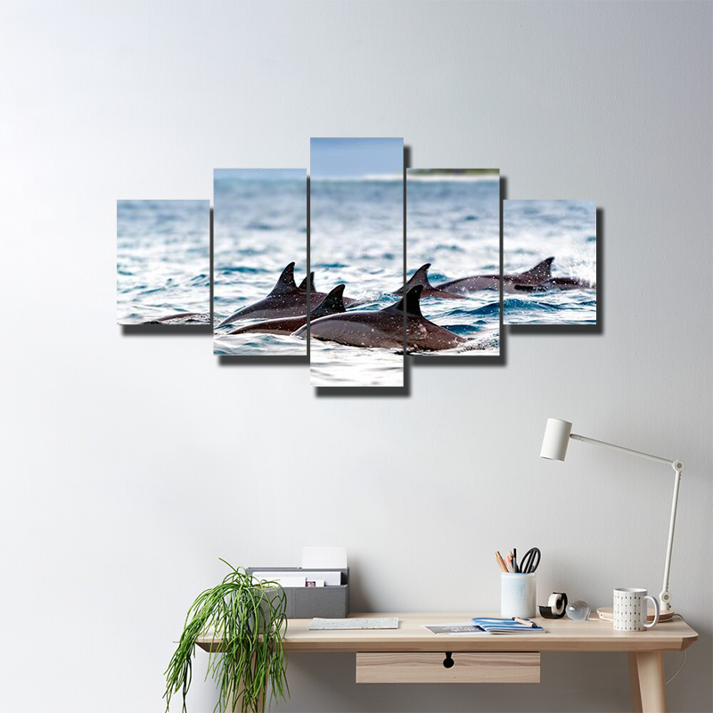 Spinner Dolphins In Shallow Bays Multi Canvas Wall Art