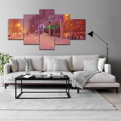 Illuminated Night In Winter Multi Canvas Print Wall Art