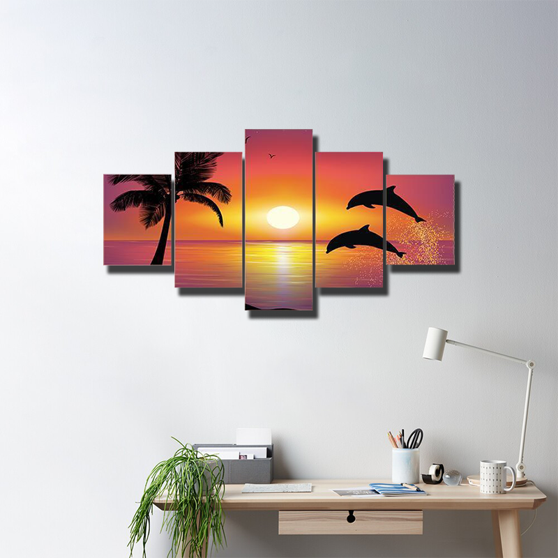 Two Dolphins Jumping Out Of Water Multi Canvas Wall Art