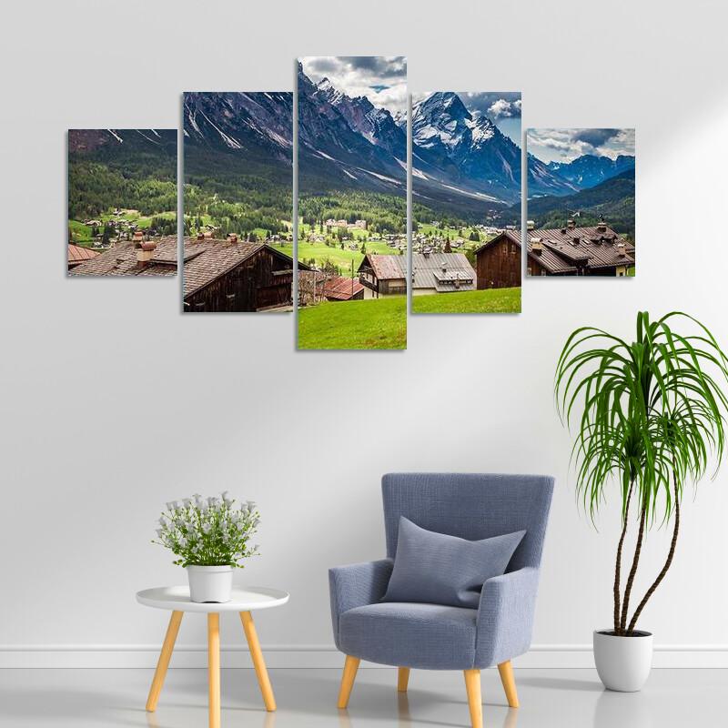 Cortina Di Ampezzo In Spring Multi Canvas Print Wall Art