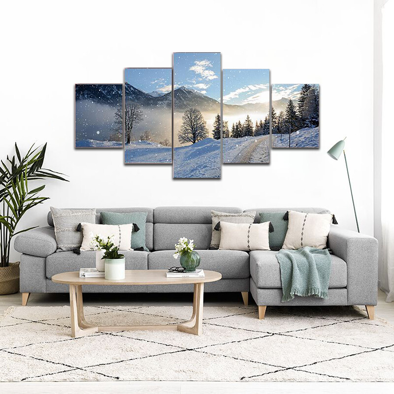 Icy Road With Snowfall Multi Canvas Print Wall Art