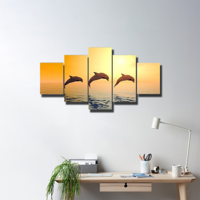 Dolphins In Sea Multi Canvas Wall Art
