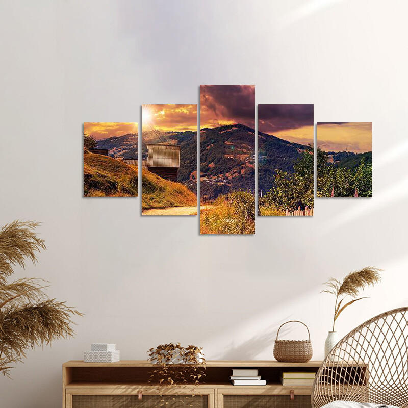 Empty Asphalt Mountain Road Multi Canvas Print Wall Art